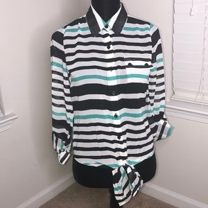 Tops - Black, Teal & White Striped Top